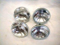 画像1: 丸目4灯式ライト/ハロゲン&シールドヘッドライトSET