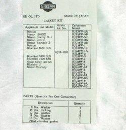 画像3: ハコスカ&ケンメリ前期&S30&510 SUキャブO/Hパッキン セット